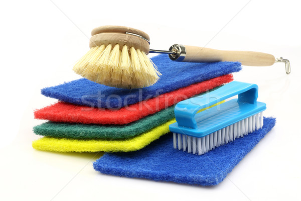 abrasive pads and  two household brushes Stock photo © peter_zijlstra