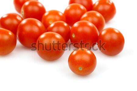 Friss egész koktélparadicsom fehér piros cseresznye Stock fotó © peter_zijlstra