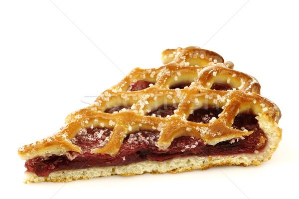 ломтик украшенный вишневый пирог Голландии белый есть Сток-фото © peter_zijlstra