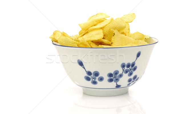 Сток-фото: украшенный · чаши · свежие · картофельные · чипсы · белый · продовольствие