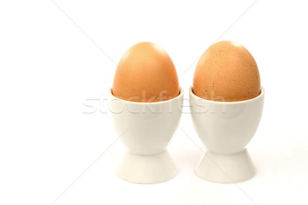Сток-фото: два · белый · яйцо · коричневый · яйца