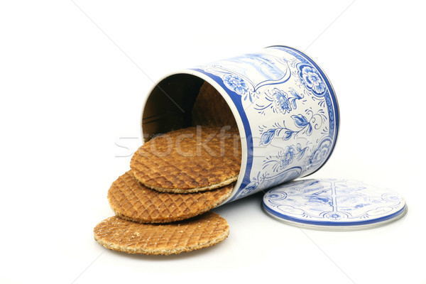 Dutch waffles in a colored can called a stroopwafel Stock photo © peter_zijlstra