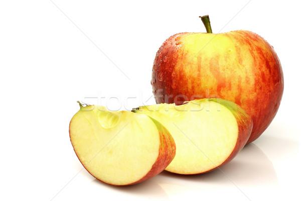 Egy egész alma darabok fehér gyümölcs Stock fotó © peter_zijlstra