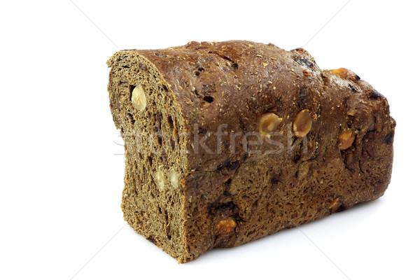 Teljeskiőrlésű kenyér mogyoró fehér étel friss Stock fotó © peter_zijlstra