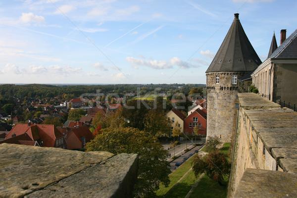 Kale kötü çim Avrupa kule taşlar Stok fotoğraf © peter_zijlstra