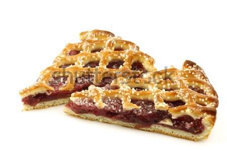 Сток-фото: два · Ломтики · украшенный · вишневый · пирог · Голландии · белый