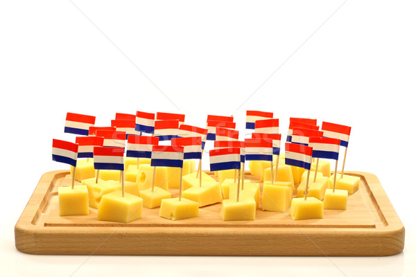 blocks of Dutch cheese on a wooden tray Stock photo © peter_zijlstra