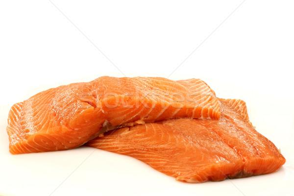 カット 鮭 魚 ディナー 料理 ストックフォト © peter_zijlstra