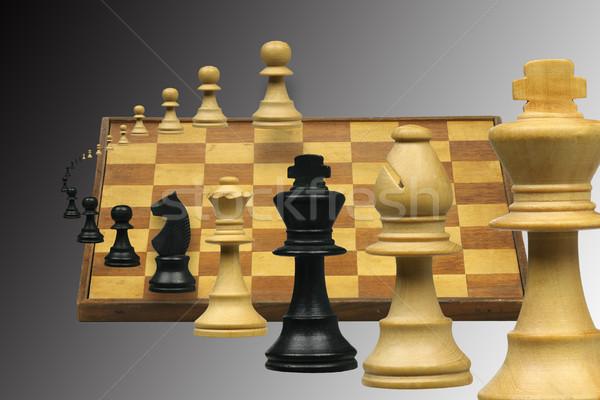 Flying шахматная доска древесины шахматам странно Сток-фото © peter_zijlstra