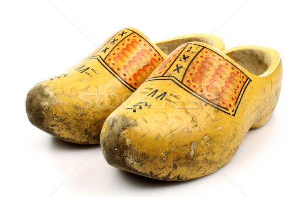 Pár hagyományos holland citromsárga fából készült cipők Stock fotó © peter_zijlstra