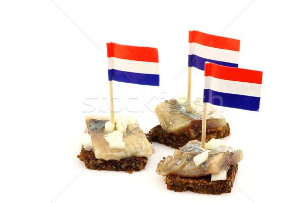 新鮮な オランダ語 切り 玉葱 ライ麦 パン ストックフォト © peter_zijlstra