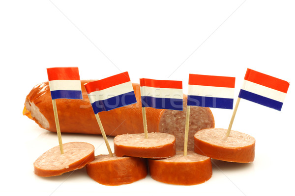 pieces of smoked sausage with Dutch flag toothpicks Stock photo © peter_zijlstra