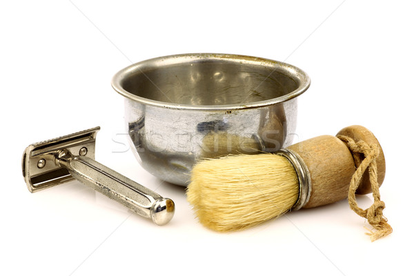 vintage shaving brush and a shaving bowl Stock photo © peter_zijlstra