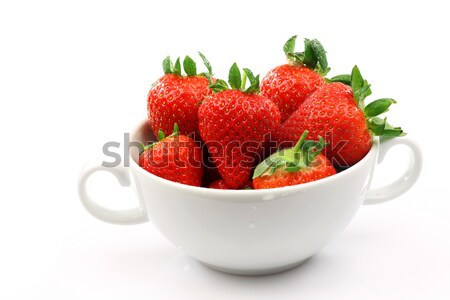 fresh strawberries in a white ceramic bowl Stock photo © peter_zijlstra