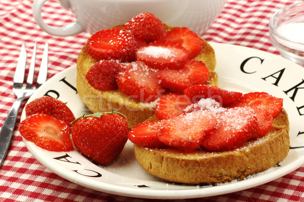 two rusks with sugared strawberries Stock photo © peter_zijlstra