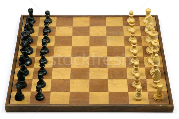 old and aged wooden chessboard with chess pieces Stock photo © peter_zijlstra
