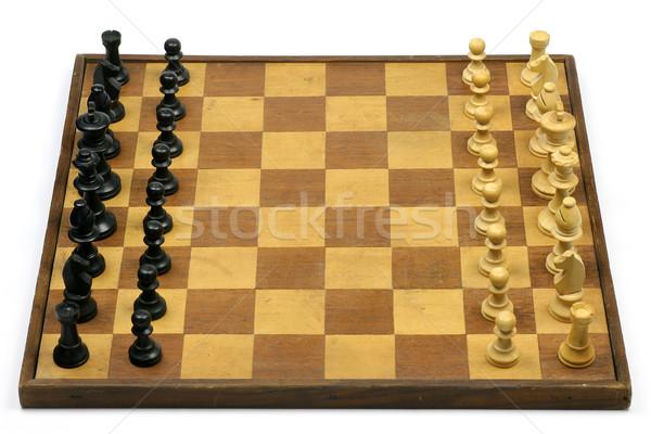öreg kopott fából készült sakktábla sakkfigurák fehér Stock fotó © peter_zijlstra