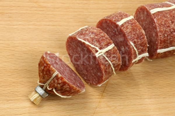 カット ソーセージ 白 まな板 木材 肉 ストックフォト © peter_zijlstra