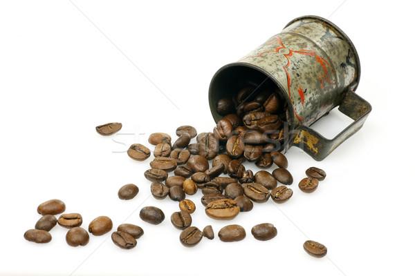 カップ コーヒー豆 白 コーヒー 金属 ストックフォト © peter_zijlstra