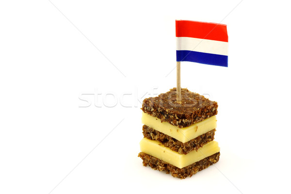 traditional dutch layered rye bread and cheese snack Stock photo © peter_zijlstra