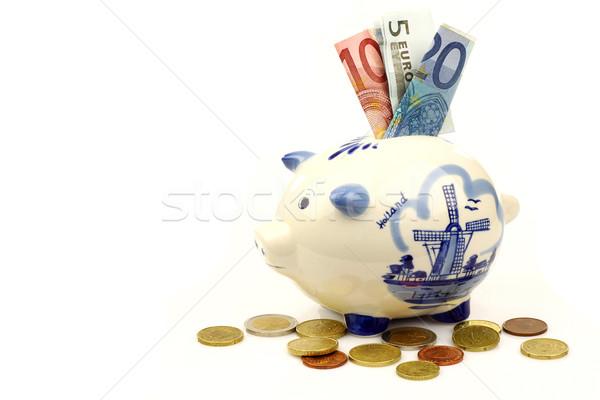 Kerámia kék persely Euro papír pénz Stock fotó © peter_zijlstra