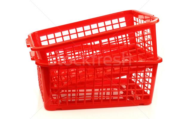 Piros műanyag vásárlás szerszám szennyes konténer Stock fotó © peter_zijlstra