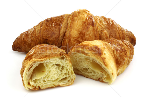 Vers gebakken croissant twee voedsel dessert Stockfoto © peter_zijlstra
