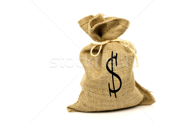 Pénzeszsák dollárjel fehér textúra bank táska Stock fotó © peter_zijlstra