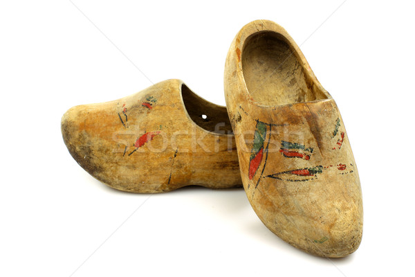 pair of very old traditional Dutch decorated wooden shoes Stock photo © peter_zijlstra