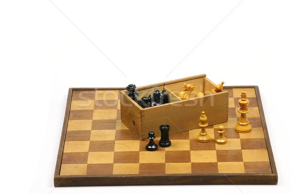 Eski ahşap satranç tahtası kutu Stok fotoğraf © peter_zijlstra