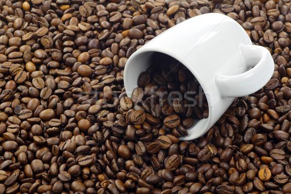Kahve fincanı kahve çekirdekleri doku kahve içmek fincan Stok fotoğraf © peter_zijlstra