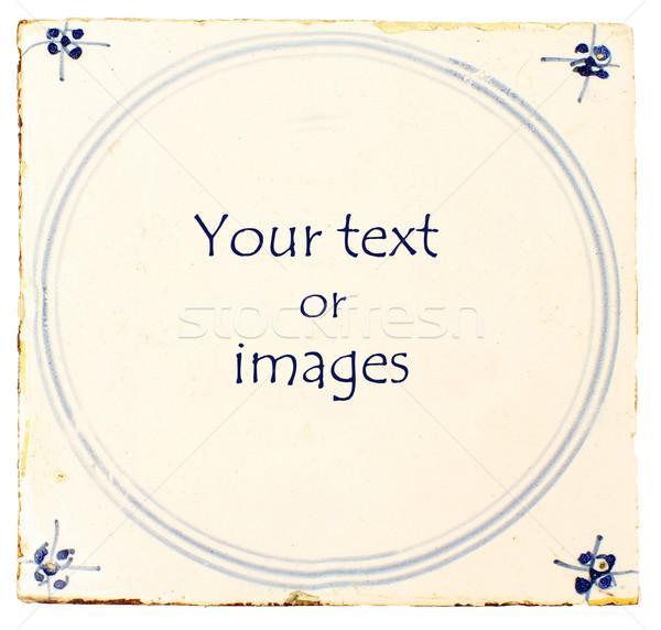 Stockfoto: Nederlands · Blauw · tegel · kamer · tekst