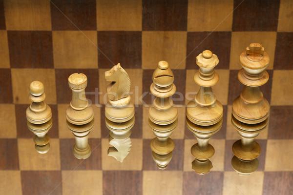 Fehér sakkfigurák kockás tükör játék elveszett Stock fotó © peter_zijlstra