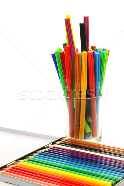 color felt tip pens and a box of coloring pencils Stock photo © peter_zijlstra