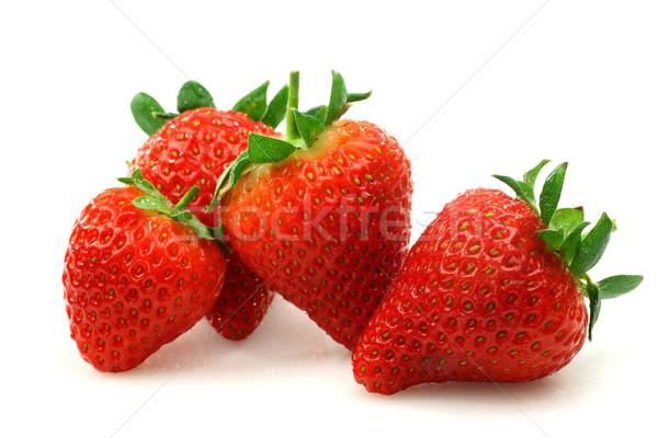 新鮮な イチゴ 白 食品 緑 朝食 ストックフォト © peter_zijlstra