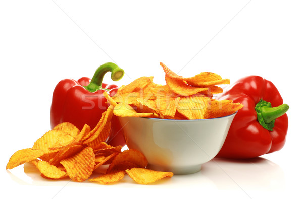 red bell peppers and paprika chips Stock photo © peter_zijlstra