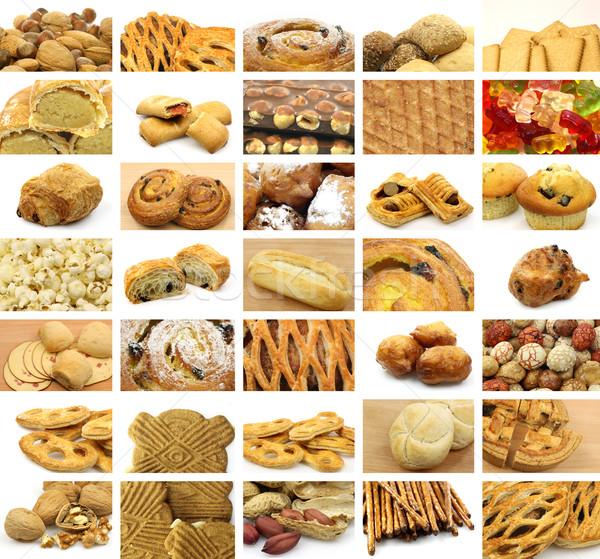 Kollázs sok harapnivalók kenyér sütik édes Stock fotó © peter_zijlstra