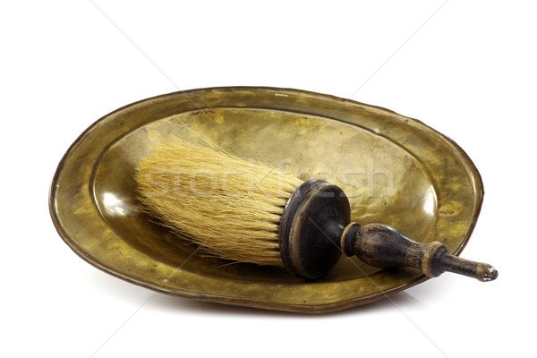 vintage shaving brush and a shaving dish Stock photo © peter_zijlstra