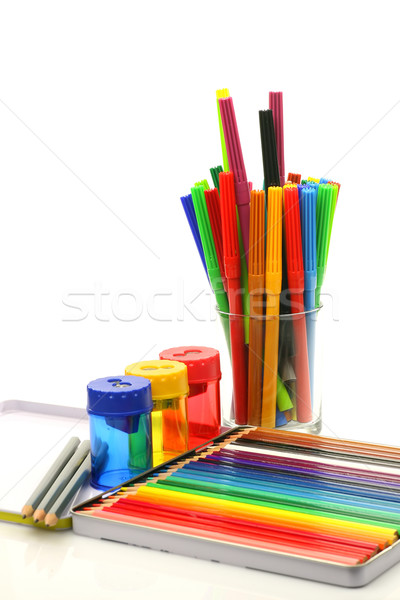 color felt tip pens, coloring pencils and pencil sharpeners  Stock photo © peter_zijlstra
