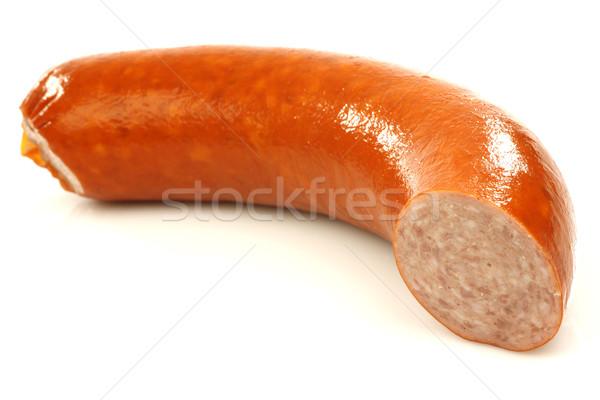 Stuk gerookt worst witte koken maaltijd Stockfoto © peter_zijlstra