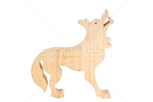 Carved Wooden Wolf Figure Stock photo © peterguess