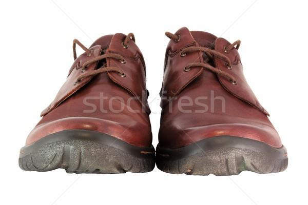 靴 ペア ブラウン 革 孤立した ストックフォト © peterguess