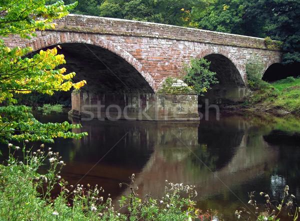 Pont rivière eau paysage arbres pierre Photo stock © peterguess