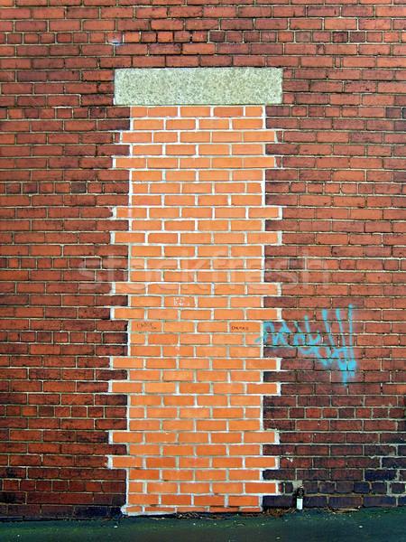 Up porte bâtiment mur Photo stock © peterguess