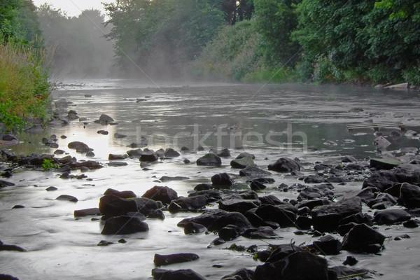 Misty rivière tôt le matin brouillard eau pierres Photo stock © peterguess