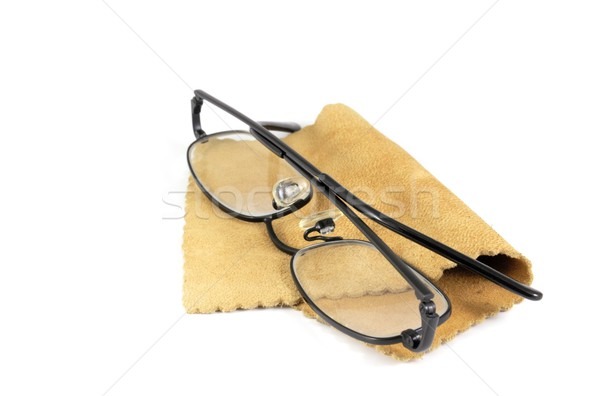Spectacles On Chamois Leather Cleaning Cloth Stock photo © peterguess