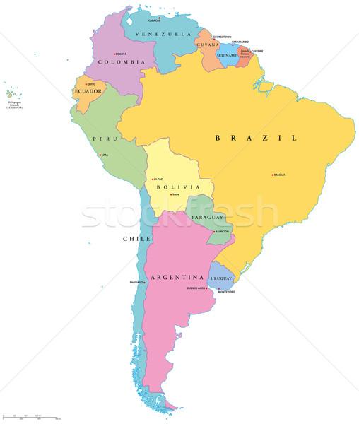 América del sur político mapa Inglés América Foto stock © PeterHermesFurian
