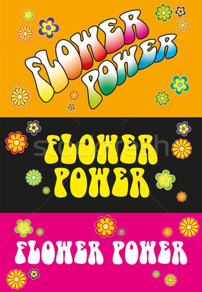 Flower power três modelo floral símbolos laranja Foto stock © PeterHermesFurian