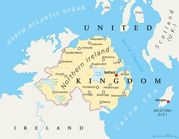 Kuzey İrlanda siyasi harita Belfast sınır Stok fotoğraf © PeterHermesFurian
