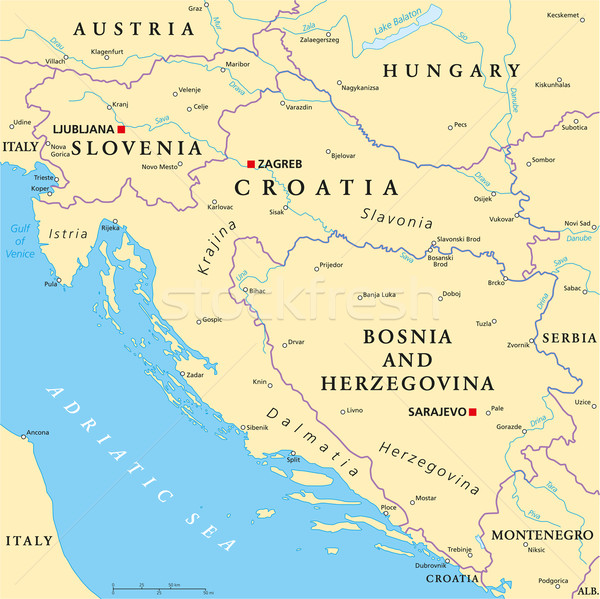 West Balkan Political Map Stock photo © PeterHermesFurian